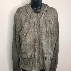 Maurices Green Distressed Snap Front Jacket